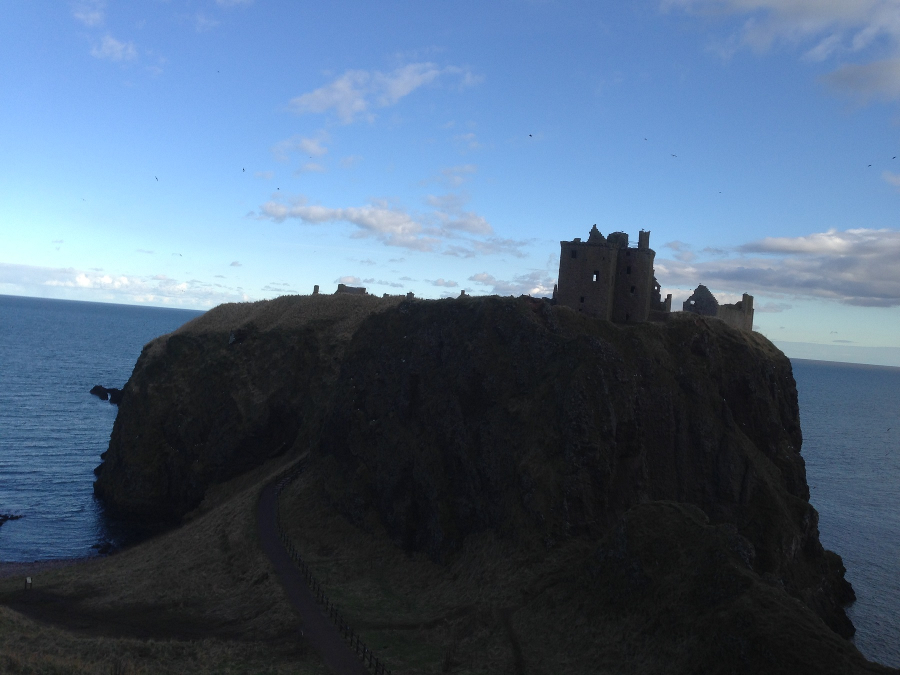 Scottish castle ruin on a cliff