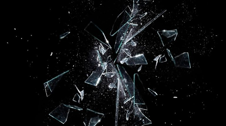 broken glass on dark background